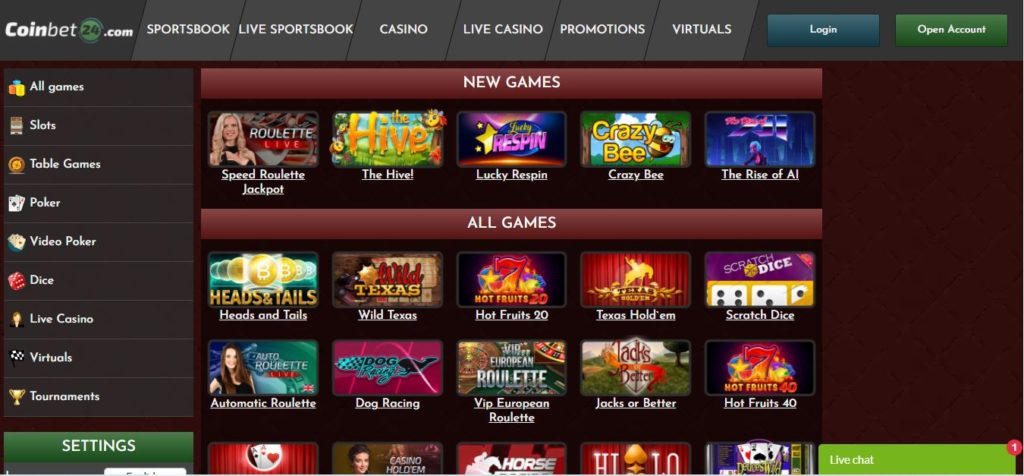 Coinbet24 Casino website