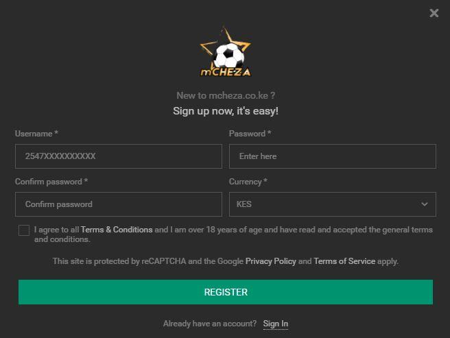 mCHEZA casino registration process
