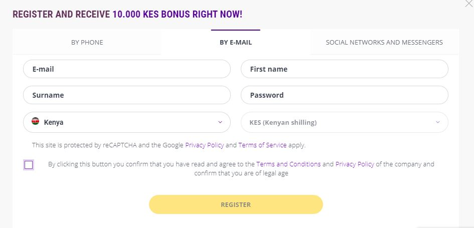 Helabet Kenya register by email