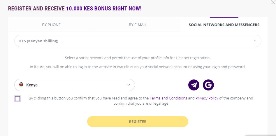 Helabet Kenya registration